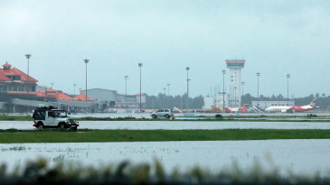 A view of the flooded Kochi airport on August 15