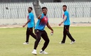 Mustafizur Rahman hurls a throw during a training session on Monday where Bangladesh players wore kits without a logo, Dhaka, August 27, 2018
