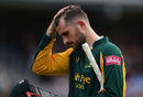 Alex Hales is dejected after his dismissal, Somerset v Notts, Vitality Blast quarter-final, Taunton, August 27, 2018