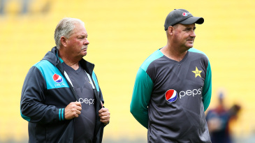 New Zealand bowling coach Shane Jurgensen at a training session before the game