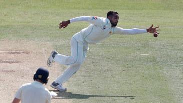 Faheem Ashraf reaches for the ball