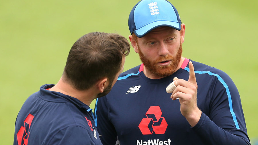 Jonny Bairstow sports a bandage on his injured finger