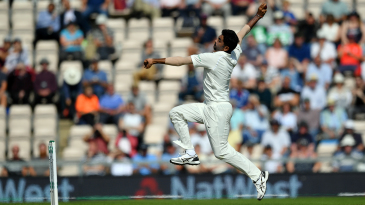 Jasprit Bumrah in his pre-delivery leap