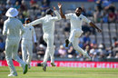 Mohammed Shami leaps in delight after striking with the first ball of the day, England v India, 4th Test, 4th day, Ageas Bowl, September 2, 2018