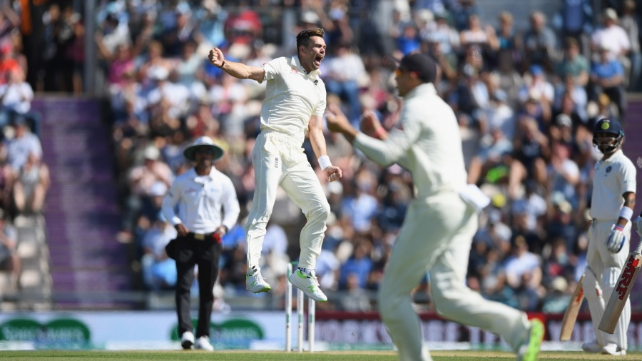 James Anderson jumps in celebration of a wicket