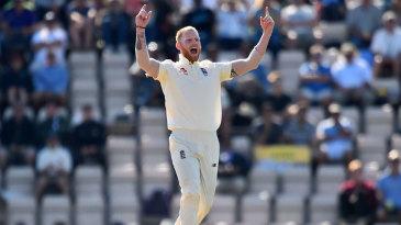 Ben Stokes roars after removing Hardik Pandya