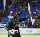 Fabian Allen celebrates after hauling his team to victory, St Kitts and Nevis Patriots v Barbados Tridents, CPL 2018, September 4, 2018