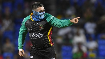 Tabraiz Shamsi brings out his masked man celebration