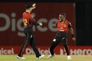 Dwayne Bravo celebrates a wicket, Trinbago Knight Riders v Guyana Amazon Warriors, CPL 2018, Port of Spain, September 5, 2018
