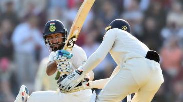 Cheteshwar Pujara plays a rare paddle sweep