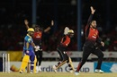 Fawad Ahmed goes up in appeal, Trinbago Knight Riders v Barbados Tridents, CPL 2018, Port of Spain, September 7, 2018