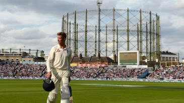 Keaton Jennings walks off the park after being dismissed