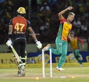 Rayad Emrit celebrates Dwayne Bravo's wicket, Guyana Amazon Warriors v Trinbago Knight Riders, Providence, September 9, 2018