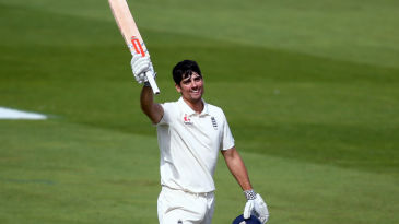 Alastair Cook soaks in the applause of The Oval crowd after raising his 33rd Test century