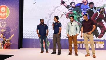 Mohammad Shazad, Asghar Afghan, Mohammad Nabi and Rashid Khan attend the Afghanistan Premier League draft
