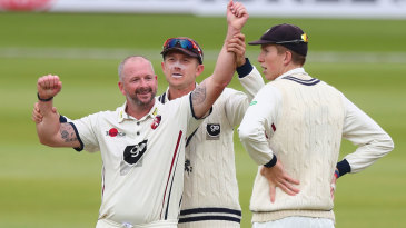 Darren Stevens celebrates with Joe Denly and Zak Crawley