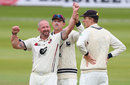 Darren Stevens celebrates with Joe Denly and Zak Crawley, Middlesex v Kent, County Championship, Division Two, Lord's, September 11, 2018
