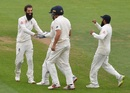 Moeen Ali celebrates a wicket with his teammates, England v India, 5th Test, The Oval, 5th day, September 11, 2018