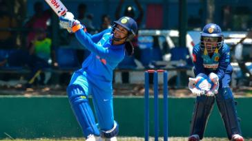 Smriti Mandhana smashes the ball down the ground