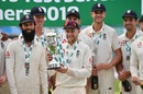 Joe Root and members of the England team pose with the winner's trophy, England v India, 5th Test, The Oval, 5th day, September 11, 2018