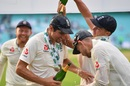 England players pour champagne on Alastair Cook, England v India, 5th Test, The Oval, 5th day, September 11, 2018