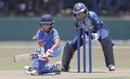Taniya Bhatia plays a sweep, Sri Lanka women v India women, 2nd ODI, Galle, September 13, 2018