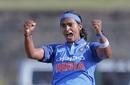 Shikha Pandey celebrates a wicket, Sri Lanka women v India women, 2nd ODI, Galle, September 13, 2018