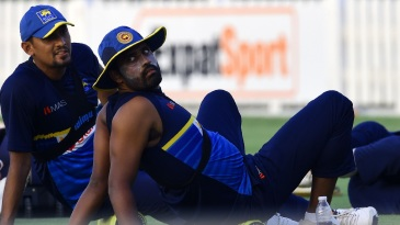 Suranga Lakmal and Thisara Perera at a training session