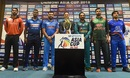 Anshy Rath, Angelo Mathews, Rohit Sharma, Sarfraz Ahmed, Mashrafe Mortaza and Asghar Afghan with the Asia Cup trophy, Dubai, September 14, 2018