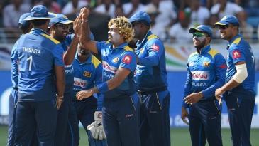 Lasith Malinga celebrates a wicket with the Sri Lankan team