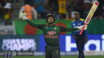 Mushfiqur Rahim celebrates after reaching his sixth ODI century