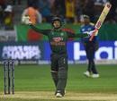 Mushfiqur Rahim celebrates after reaching his sixth ODI century, Sri Lanka v Bangladesh, Asia Cup 2018, Dubai, September 15, 2018