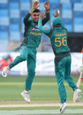 Shadab Khan leaps in celebration after picking up a wicket, Hong Kong v Pakistan, 2nd ODI, Asia Cup, September 16, 2018