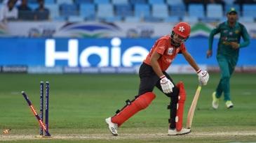 Aizaz Khan is bowled