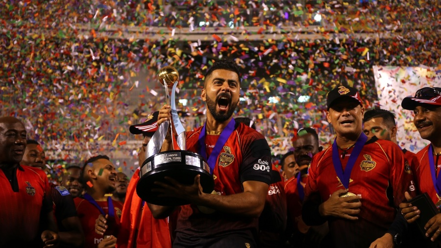 Ali Khan with the CPL trophy
