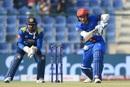 Rahmat Shah taps the ball down the ground, Afghanistan v Sri Lanka, 3rd ODI, Group B, Asia Cup, September 17, 2018