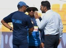 Kumar Sangakkara chats with the Sri Lanka support staff, Afghanistan v Sri Lanka, 3rd ODI, Group B, Asia Cup, September 17, 2018