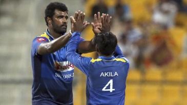 Thisara Perera celebrates a wicket