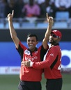 Ehsan Khan enjoyed the wicket of Rohit Sharma, India v Hong Kong, Asia Cup 2018, Dubai, September 18, 2018