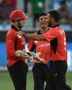 Ehsan Nawaz and Ehsan Khan celebrate Ambati Rayudu's wicket, India v Hong Kong, Asia Cup 2018, Dubai, September 18, 2018