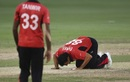 Ehsan Khan kisses the ground after dismissing MS Dhoni for a duck, India v Hong Kong, Asia Cup 2018, Dubai, September 18, 2018