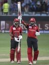 Anshy Rath looks on as Nizakat Khan raises the bat for his fifty, India v Hong Kong, Asia Cup 2018, Dubai, September 18, 2018
