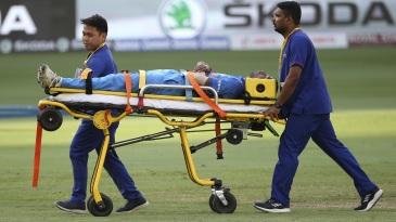 Hardik Pandya is stretchered off the field