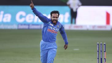 Kedar Jadhav is thrilled to pick a wicket