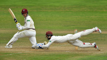 Ben Foakes dives forward to complete a catch