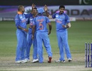 Jasprit Bumrah and the Indian team celebrate after dismissing Pakistan out for 162, India v Pakistan, Asia Cup 2018, Dubai, September 19, 2018