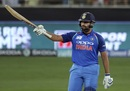 Rohit Sharma raises his bat after getting to his half-century, India v Pakistan, Asia Cup 2018, Dubai, September 19, 2018