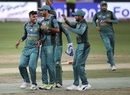 Shadab Khan and his team-mates celebrate Rohit Sharma's dismissal, India v Pakistan, Asia Cup 2018, Dubai, September 19, 2018