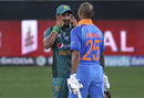 Hasan Ali gestures towards Shikhar Dhawan during the chase, India v Pakistan, Asia Cup 2018, Dubai, September 19, 2018