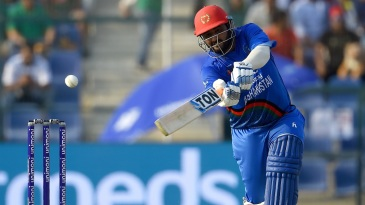 Mohammad Shahzad makes room to slap through the off side